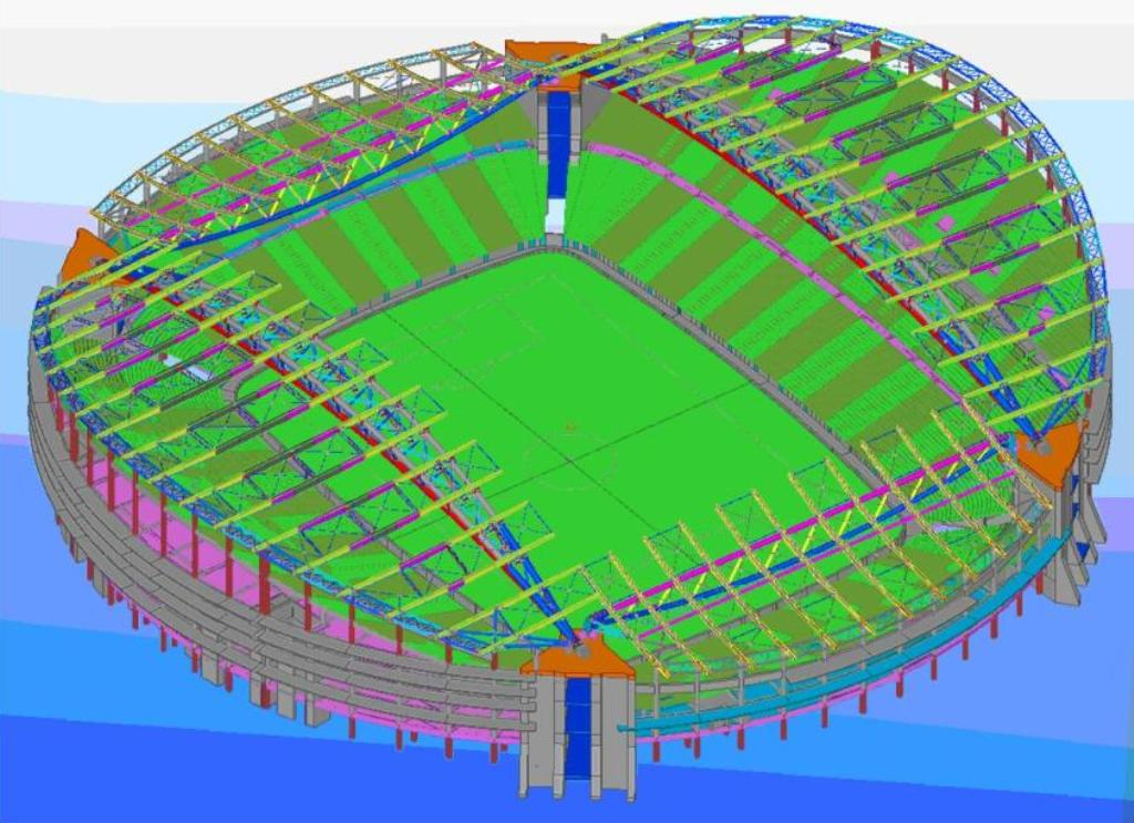 3d views of the stadium structural system