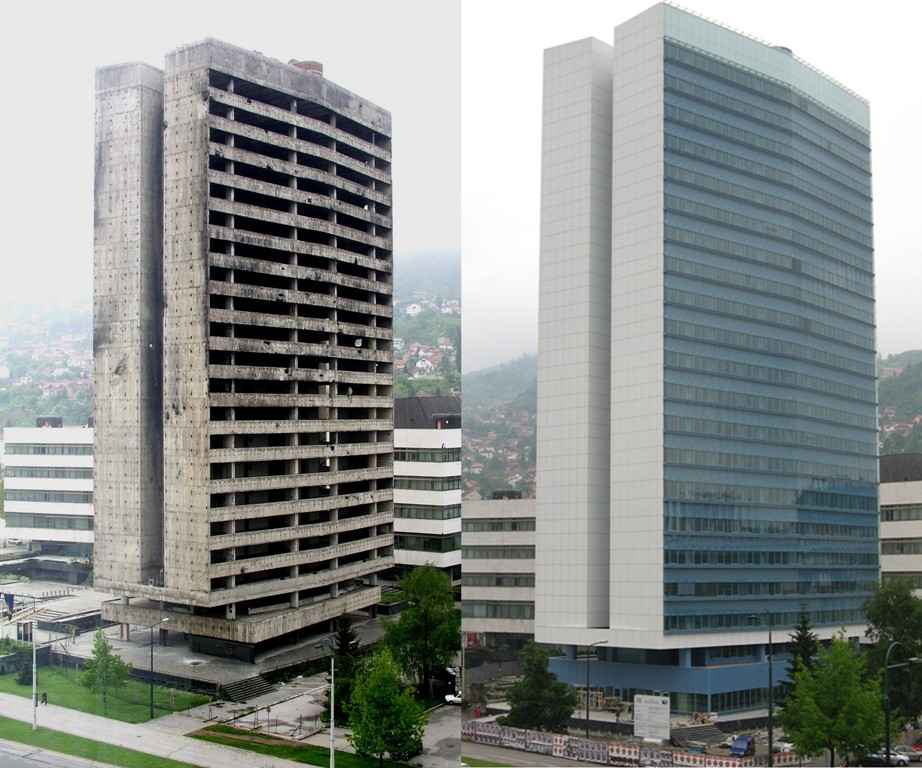 Building before and after the reconstruction